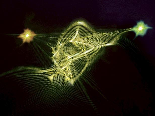 """Entanglement er en særlig """"sammenfiltring"""" mellem kvantefysiske partikler som kan bruges til udveksling af data i kvanteberegninger.Her ses en kunstnerisk fortolkning af entanglement udført af Mette Høst, artist-in-residence ved Niels Bohr Institutet, Københavns Universitet."""